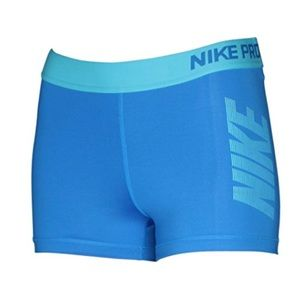 NIKE blue Spellout compression shorts, M